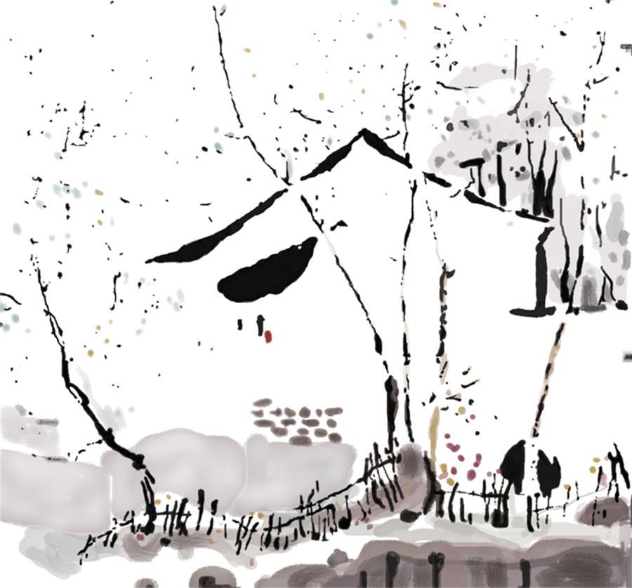 > bjq-740素描 房屋 简笔画 小树 篱笆 水墨江南